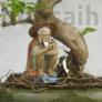 Kép 2/3 - Halász bonsai szobor - 12 cm